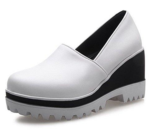 VogueZone009 Femme à Talon Haut Couleur Unie Élastique Rond Chaussures Légeres Blanc