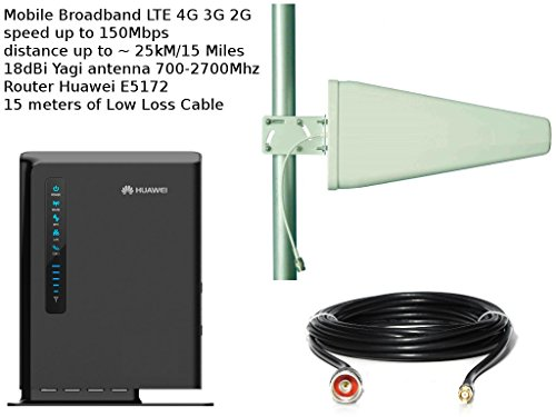 Mobile Breitband-Antenne Booster LTE 4 G 3 G 15 Meter Ultra Low Loss Kabel Huawei E5172 Yagi 18dBi