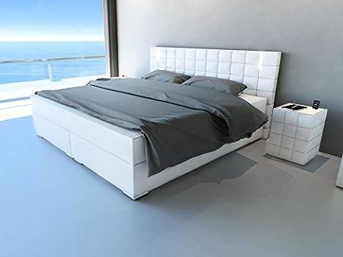 SAM® Design Boxspringbett Berlin, Samolux®-Bezug in weiß, LED-Beleuchtung, Bonellfederkern-Matratze, Holzrahmen & Nosag-Unterfederung, extra dicker Topper, hochwertige chromfarbene-Füße, 180 x 200 cm