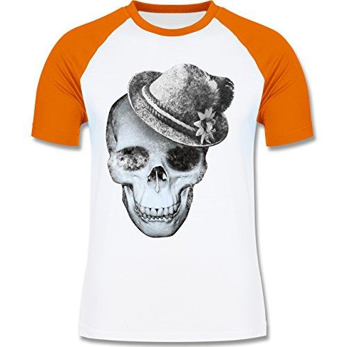 Shirtracer Oktoberfest Herren - Totenkopf mit Filzhut - Herren Baseball  Shirt Weiß/Orange
