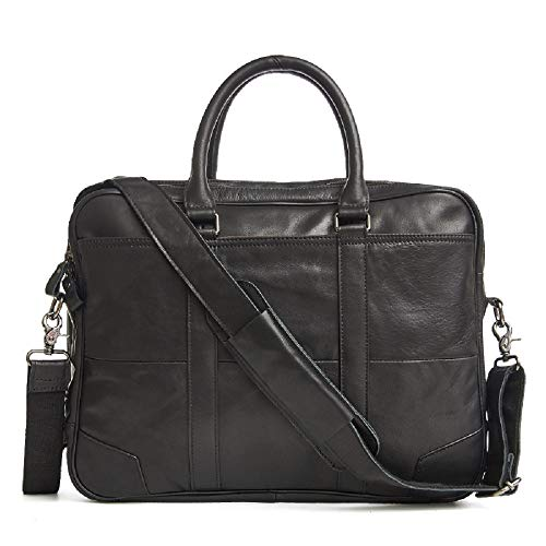 CUIYAN Herrenhandtasche, Leder Herrentasche, Mode-Business-Tasche, Aktentasche, Multifunktions-Umhängetasche,Schwarz - Multifunktions-leder Schwarz