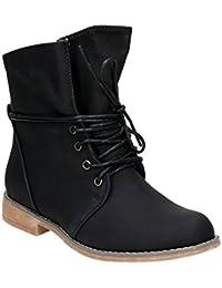 Damen Stiefeletten Stiefel Blockabsatz Schnür Biker Boots Freizeit Schuhe
