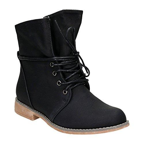 Damen Schnür Boots Stiefeletten Warm Gefüttert Stiefel Schuhe Schwarz/leichtgefüttert EU 39