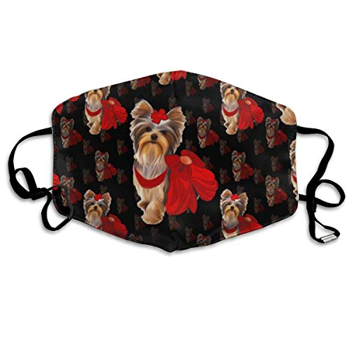 (WBinHua Masken für Erwachsene, Mask Face, Mouth Mask, Breathable Mask Anti Dust, Unisex Yorkie Loves Red Size Printed Cotton Mouth-Masks Face Mask Polyester Anti-dust Masks)