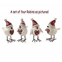 Christmas Resin Heart Bird With Hat Xmas Red White Robin Chic Shabby Decoration (4) by Heaven Sends