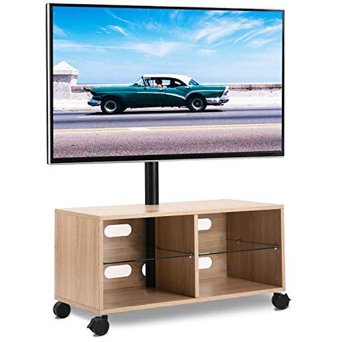 RFIVER Universal Mobil TV Ständer Fernsehschrank Fernsehtisch mit Rollen höhenverstellbar schwenkbar in Eiche für 32 bis 55 Zoll TV TW5003