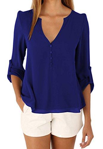 OMZIN Damen Einfarbig Chiffon Tops Bluse Damen Lose Langarm V-Ausschnitt Knöpfe Decor Asymmetrisch Shirts Tops Blau XL Vorhänge Gelb Volant
