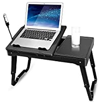 TeqHome Foldable Laptop Table Adjustable Lap-desk Portable Notebook Stand Reading Holder Multifunctional Sofa Bed Breakfast Tray with Cooling Fan, Mouse Board, 4XUSB Ports, LED Lamp, Storage Groove