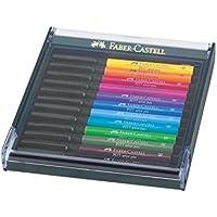 Faber-Castell Confezione Con 12 Pitt Artist Pen Brush, Colori Brillanti - Faber Castell Pitt Artist Brush