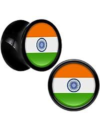 Acrílico Negro India Bandera Dilatador Par 0 Calibre