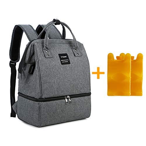 Zyorenc Wickelrucksack Kuehltasche Muttermilch Transport Lunch Isolierte Flaschentasche Baby mit USB (Dunkelgrau)