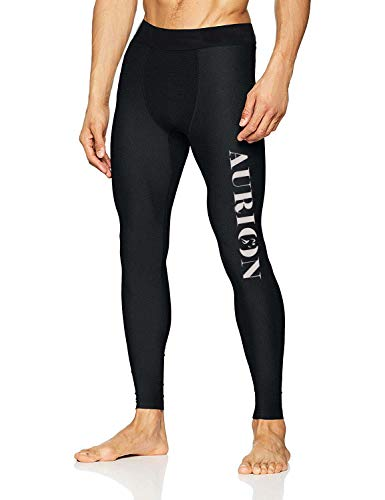 Aurion Tight-Pant-Black-(Small) Polyester Men's Compression Gym Tights, Small (Black)