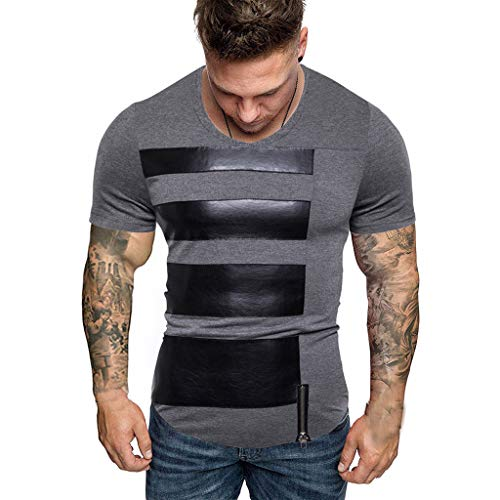 UINGKID Herren T-Shirt, Rundhals-Ausschnitt Slim Fit tripedplicing Pattern Lässige Mode Revershortleevehirt (Turtle Ninja Kürbis)
