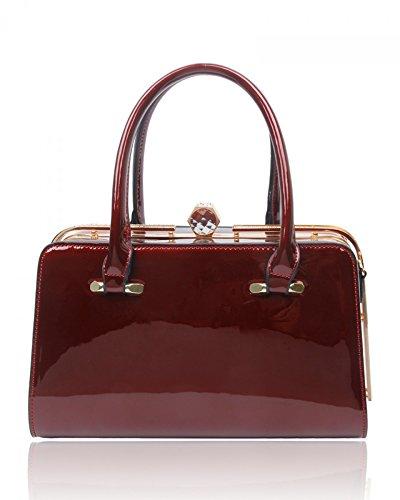 LeahWard® Damen Handtaschen Damen Metal Rahmen Taschen Berühmtheit Handtaschen Zum DamenCWS00378 BURGUNDY PATENT TOTE