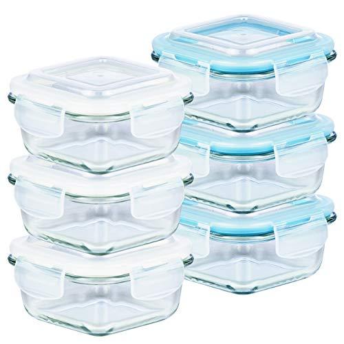 Grizzly contenitore per alimenti in vetro – set da 6 – capacità 520 ml – quadrato adatti per forno - frigo e congelatore – ermetico anti perdite – lavabile in lavastoviglie - senza bpa