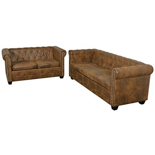 Festnight Chesterfield Sofa Set Wohnzimmersofa Couch Loungesofa 2-Sitzer-Sofa und 3-Sitzer-Sofa Kunstlederpolsterung Holzrahmen Braun