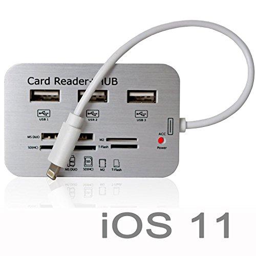 Gilsey 7in1 Camera Connection Kit iOS 11 Adapter für Apple iPhone 8 / 7 / 6 / 6s 5s SE Apple iPad Pro /iPad 4 / iPad Air 2 / iPad Air / iPad mini 1 / 2 / 3 - SD, MS, TF, M2, Mini SD, MMC, Micro SD Card Reader + 3 USB HUB - Überträgt Bilder und Videos von Karten sowie Kartenlesegeräte