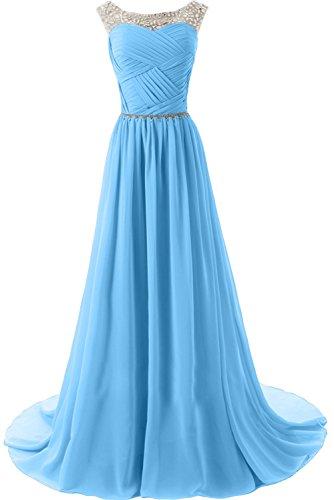 Sunvary Elegant Neu Rund Steine Chiffon Traeger Abendkleider Lang Mutterkleider Partykleider Damen Blau-1