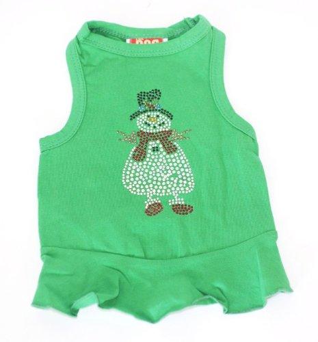 Grüner Urlaub Weihnachten Hund T-shirt (Der Hund Squad Schneemann Kleid Weihnachten T-Shirt für Haustiere, XS, grün)