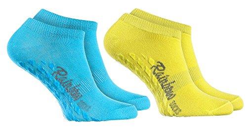 Rainbow Socks 2 Paar Kurze ANTIRUTSCH-Socken by Baumwollereiche STOPPERSOCKEN, ideal für: Glatte Fußböden Yoga Trampolinspringen BLAU GELB 39/41 Oeko-Tex-Zertifikat, Made in EU