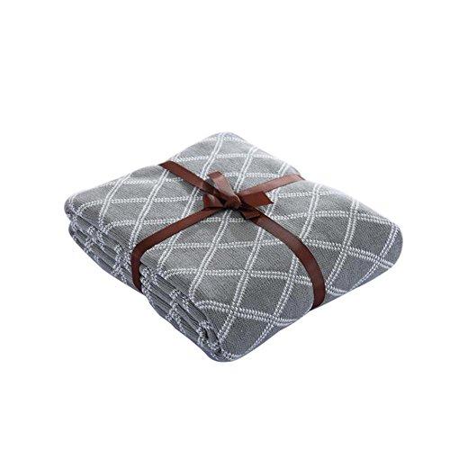 Überwurf Decke Uni gestrickt, Decken 100% Baumwolle für Stuhl, Sofa und Bett Wohnzimmer, CS053, cosy-l, 100 % Baumwolle, grau, 130*160cm (King-size-decke Waffel)