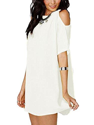 LaoZan Donna Camicetta Blusa Manica Corta Casual Elegante T Shirt Tunica Lungo Bianco