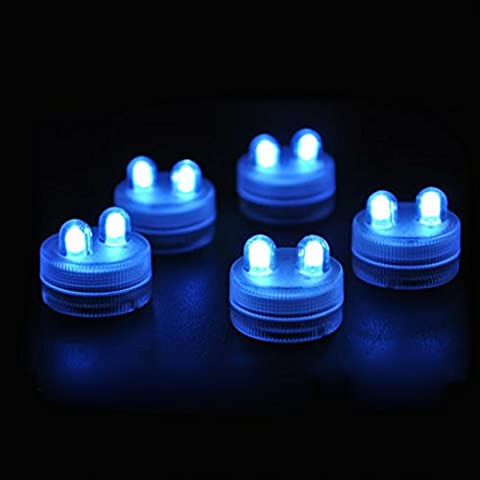 QHGstore 2LED sumergible del té vela de la luz bajo el agua a prueba de agua para la boda de Navidad azul