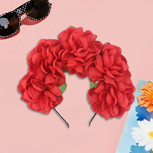 Wawer  Halloween Kranz Kopfschmuck Frauen Mädchen Simulation Rose Blume Stirnband Kontrastfarbe Flamenco Tänzer Krone Kranz Halloween Party