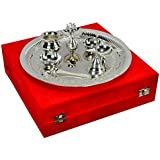 """Silver Plated Steel Pooja Thali With Brass Bell - 11.5"""" Diameter"""