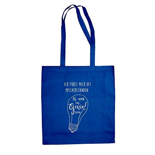 Sacchetto Di Cotone Di Iuta - Devo Essere Un Genio! - Dal Reparto Camicia Royal Blue-white