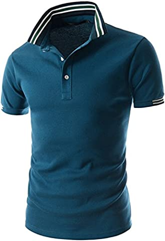 Whatlees Mens slim fit polo shirt with contrasting stripes in different colors
