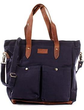 LECONI XL Shopper aus Canvas & Leder Vintage-Style Weekender Umhängetasche große Damen Tasche unisex Schultertasche...