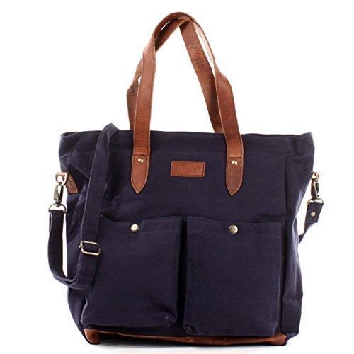 LECONI XL Shopper aus Canvas & Leder Vintage-Style Weekender Umhängetasche große Damen Tasche unisex Schultertasche Handgepäck-Tasche Beuteltasche 35x39x20cm navy LE0040-C