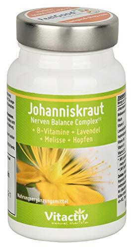 JOHANNISKRAUT – Nerven Balance Complex - 4 natürliche Kräuter und Vitamine zur Unterstützung des Nervensystems und der psychischen Gesundheit* - hochdosiert - 60 Kapseln (Monatspackung)