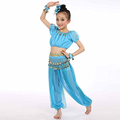 QINPIN Handgemachte Mädchen Bauchtanz Kostüme Kinder Bauchtanz Ägypten Tanz Tuch Indian Dance Heißes rosa - Mädchen Rapper Kostüm