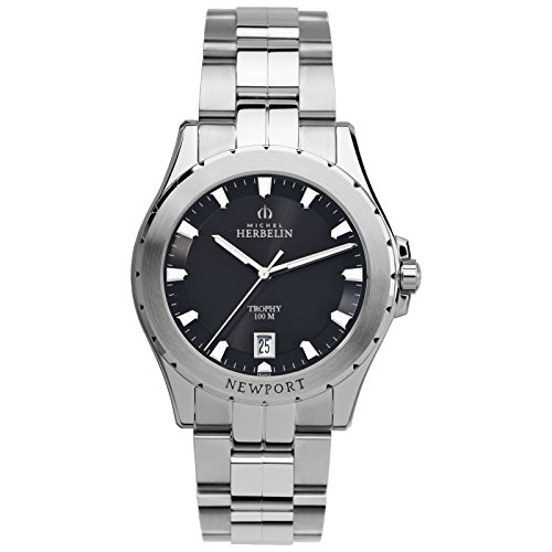 Michel reloj Trophy Herbelin Newport para hombre plateado/negro 12270/B24