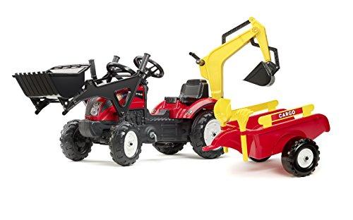 Falk Spielzeug-Set, Traktor, Lader, Bagger, Anhänger, Schaufel und Rechen, verstellbar -