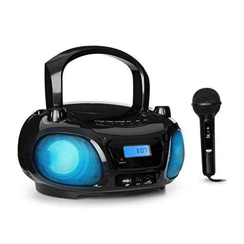 AUNA Roadie Sing - Radio CD, Chaîne Stéréo, Boombox, Lecteur CD, Port USB, MP3, Radio FM, Bluetooth 3.0, Eclairage LED, Fonctionnement sur Piles ou Secteur, Fonction Sing-A-Long, Noir