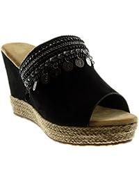 Angkorly Chaussure Mode Mule Espadrille Slip-On Peep-Toe Plateforme Femme Bijoux Fantaisie Corde Talon Compensé Plateforme 10 cm