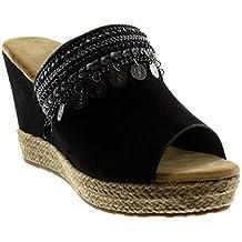 c7bf8c55ef0 Angkorly - Chaussure Mode Mule Espadrille Slip-on Peep-Toe Plateforme Femme  Bijoux Fantaisie