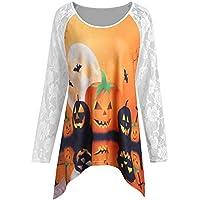 JYC Mujer Sudaderas Largas,Mujer Moda Halloween Calabaza Cordón Labor de Retazos Asimétrico Camiseta Tops Blusa
