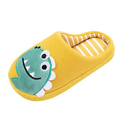 HDUFGJ Hausschuhe für Jungen & Mädchen, Cartoon Kinderhausschuhe,rutschfeste Sohle Ritterstiefel Outdoor-Schuhe Schnalle Mittlere Stiefel34.5 EU Ohne Fersenriemen(Gelb)