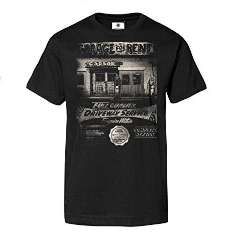 Bedrucktes Herren T-Shirt mit Motiv American Garage (L, Schwarz) (Garage T-shirt Zeit)