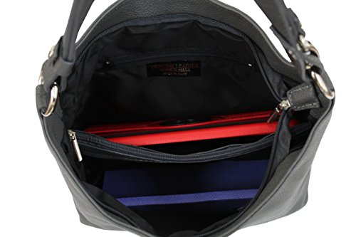 AMBRA Moda Damen Leder Handtasche Schultertasche Umhängetasche Hobo bag GL005 Armee Grün