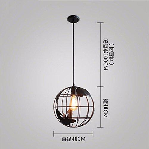 LighSCH Kronleuchter Pendellampe Modernes Minimalistisches Bar Bügeleisen Licht Cafe Globus Schwarz 4W 40Cm Durchmesser Led (Hängende Led-globus)