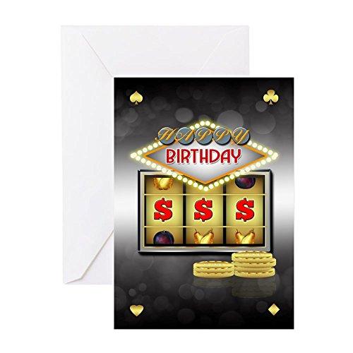 CafePress–Geburtstag Grußkarte Casino Thema mit Slots und–Grußkarte, Note Karte, Geburtstagskarte, innen blanko, matt