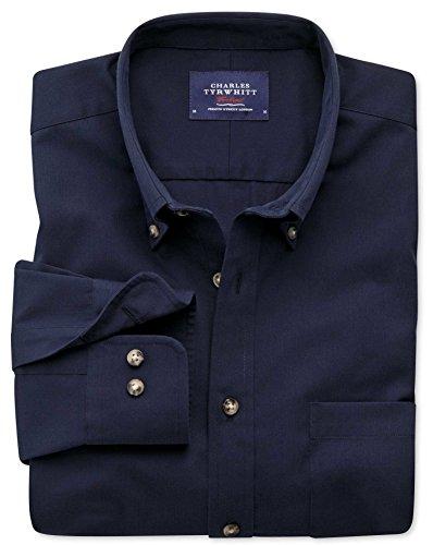 Bügelfreies SlimFit Hemd aus Twill in marineblau marineblau (Knopfmanschetten Cuff)
