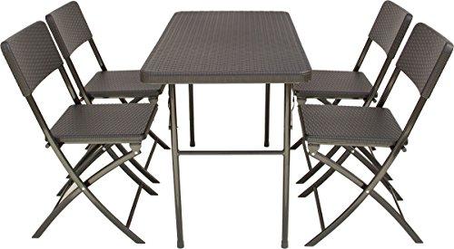 Beach & Pool TB003_SET Sitzgarnitur schwarz, Klappgarnitur für Garten, Terrasse und Balkon in Rattan-Optik, Klapptisch + 4 Stühle