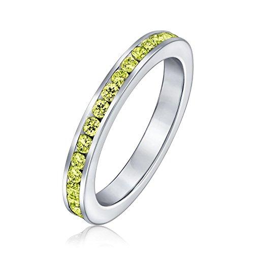 Bling Jewelry Argento Sterling simulato il citrino CZ Novembre Birthstone anello Eternity incisione