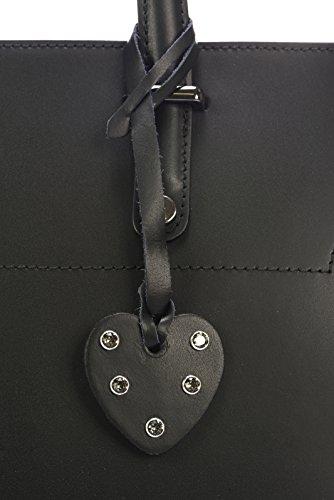 Laura Moretti - Borsa in pelle con chiusura a zip (stile TOTE) Nero